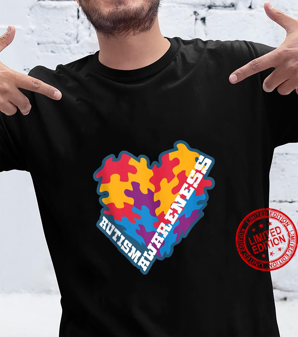 Colorful Puzzled Heart Autism Awareness Novelty Shirt