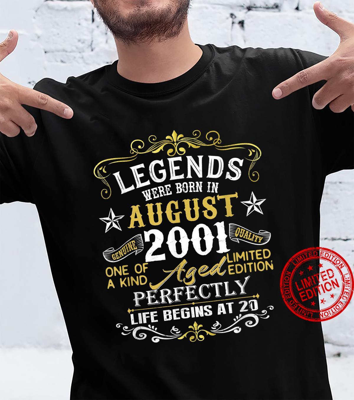 Legends Were Born In August 2001 20th Birthday Shirt