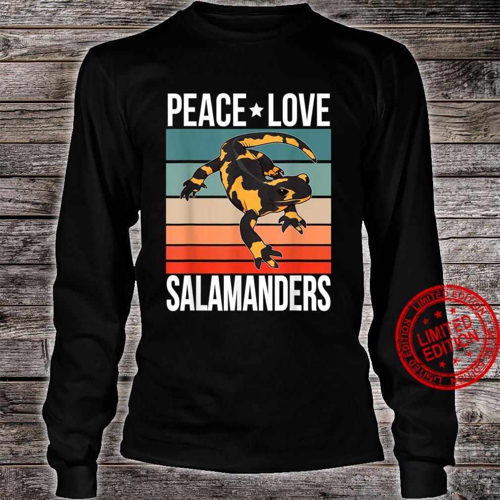 Peace Love Salamanders Quote Retro Art Reptile Vintage Shirt long sleeved