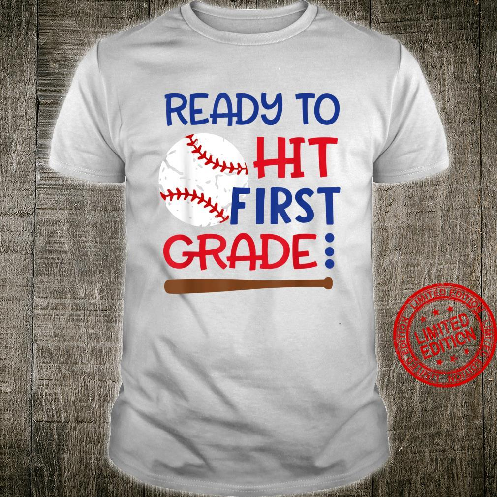 Ready To Hit First Grade Baseball Back To School Shirt