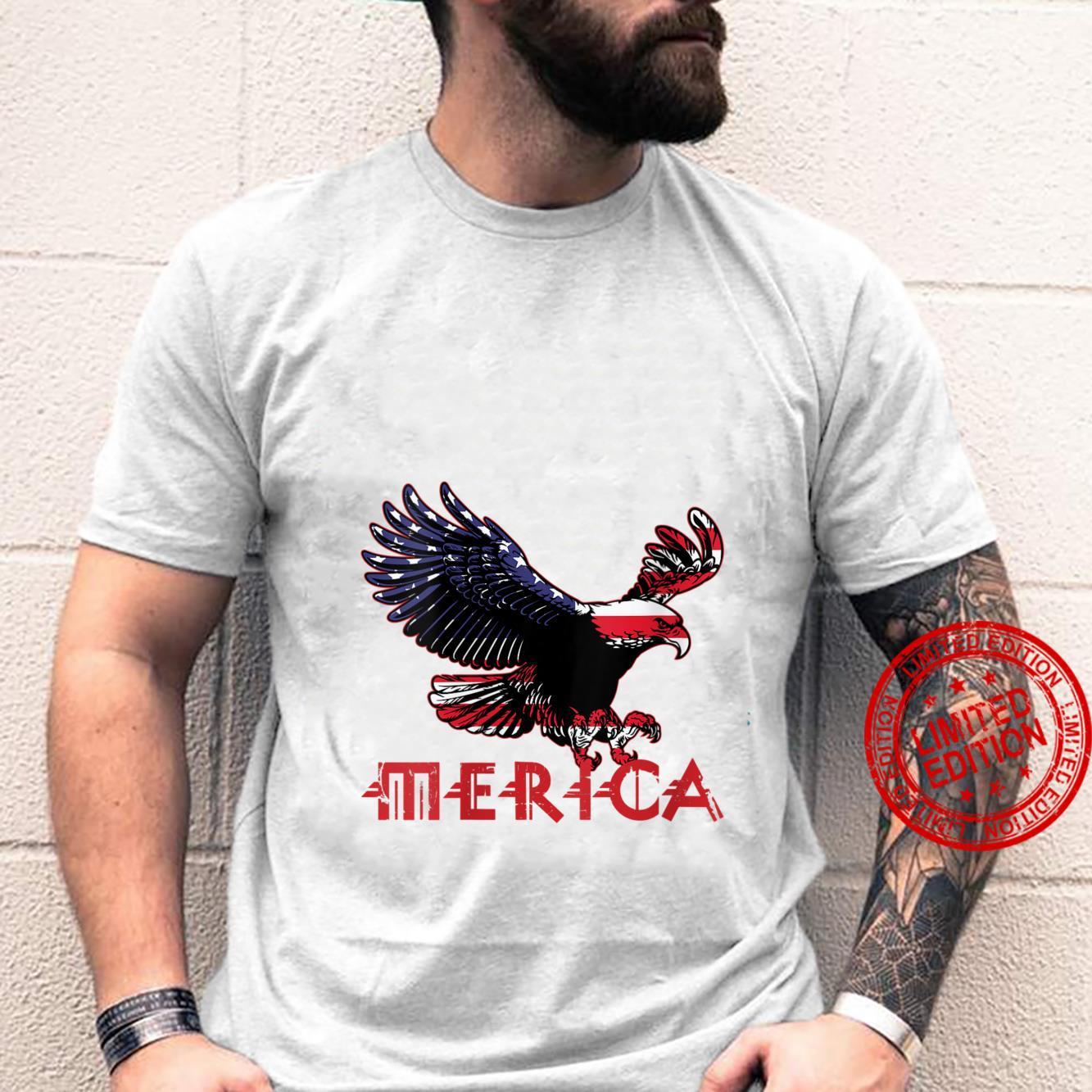 Womens Merica Eagle 4th of July American Flag Shirt