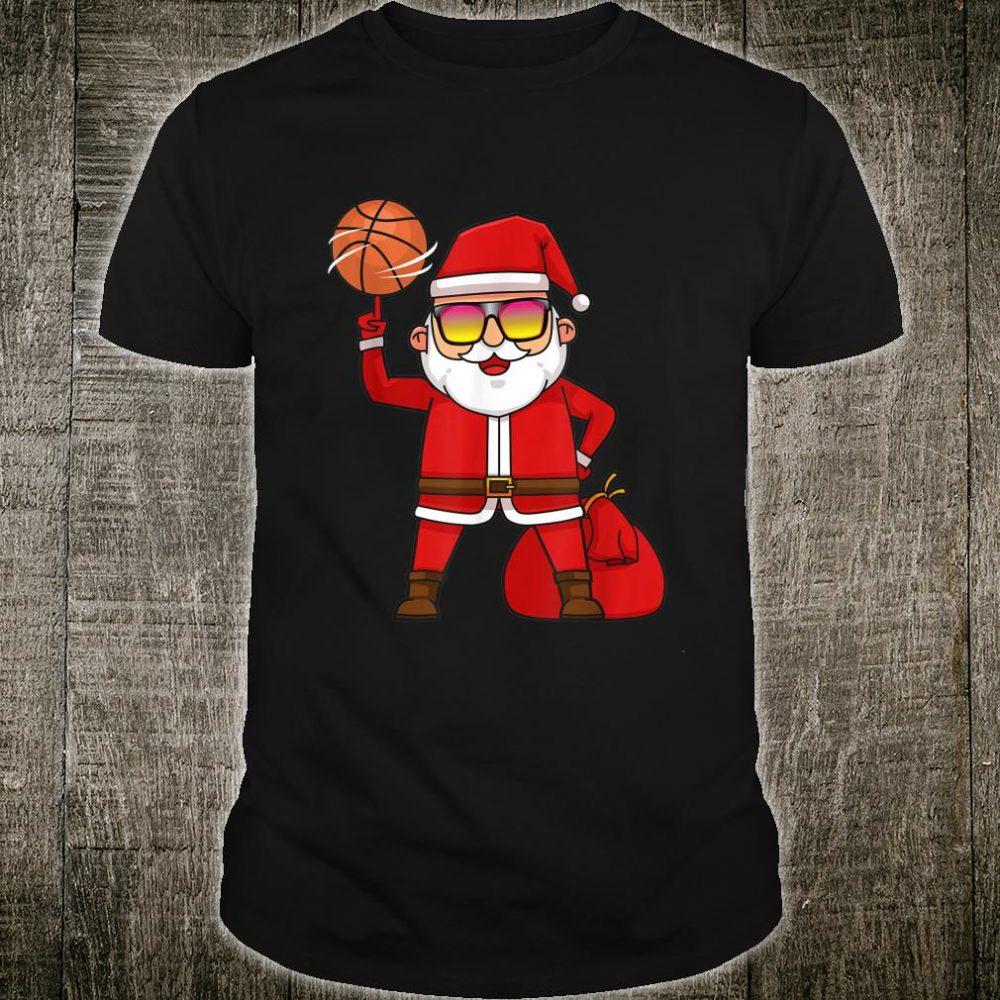 Basketball Player Ball Santa Claus Xmas Shirt