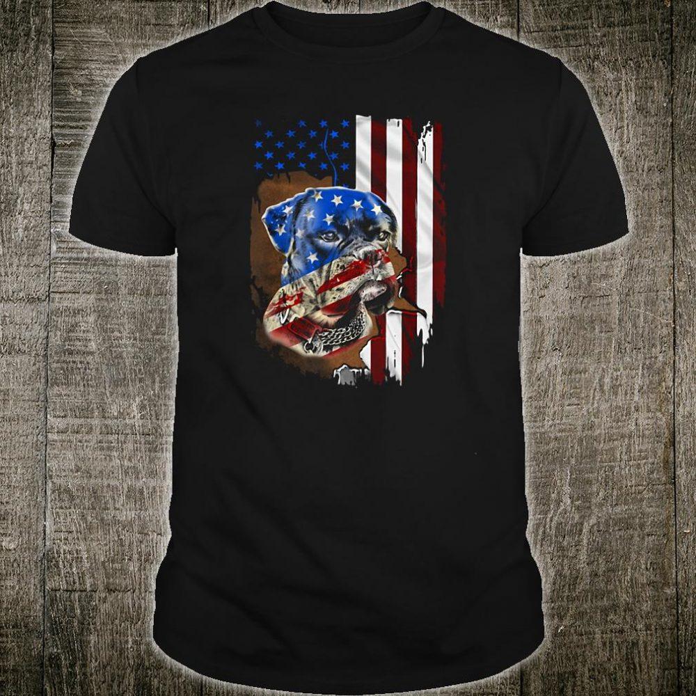 Bulldog American flag shirt